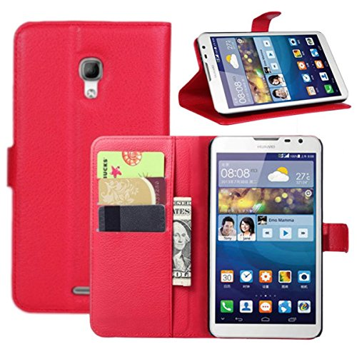 (Huawei Mate 2 Case, Fettion Premium PU Leather Wallet Flip Phone Protective Case Cover with Card Slots and Magnetic Closure for Huawei Ascend Mate 2 Smartphone (Folio - Red))