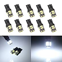 Grandview 10pcs 400LM T10 Wedge 20-SMD 2835 LED Light bulbs W5W 2825 158 192 168 194 Car Boot Truck Dome Map Light Interior Car LED Bulbs RV Truck Dashboard Parking Instrument Cluster Lights Lights DC 12V White