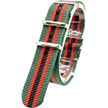 [2PiS] Nato Nylon ( Dark Green / Red / Black : 18mm ) Interchangeable Replacement Watch Strap Band 47-1-18