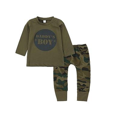 BOBORA Ropa Bebé, Camiseta de Manga Corta con Pantalones de Camuflaje para Bebés Niñas Niños