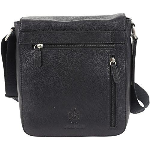 Leonhard Heyden Berlin borsa a tracolla S pelle 23 cm compartimenti portatile nero Nero