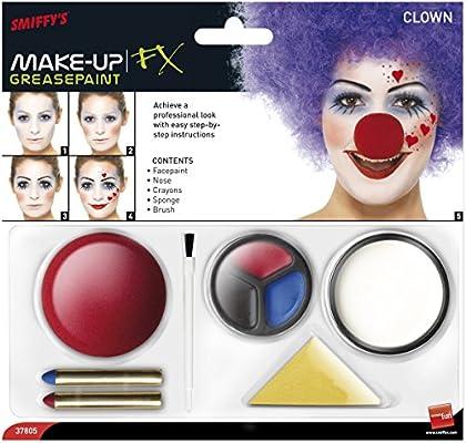 SmiffyS 37805 Kit De Maquillaje De Payaso Con Pintura Para La ...