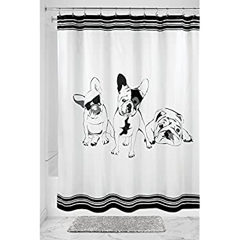Amazon.com: InterDesign French Bulldog Fabric Shower Curtain, 72\