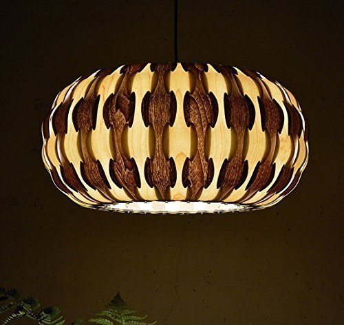 Handmade Drum Pendant Light, made of maple  walnut wood veneer,a beautiful pendant for dining room and bedroom, unique design pendant lighting, hangi…