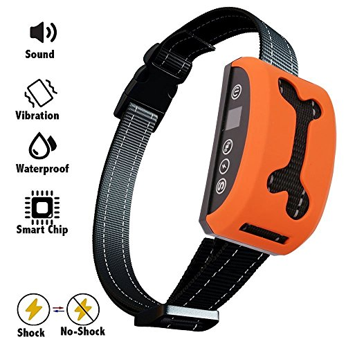 Elenest Bark Collar, 2018 Adjustable Vibration, Shock and Sensitivity Level 1-7, Rechargeable Waterproof, Smart Barking Detection for Small and Large Dog, No Bark Collar