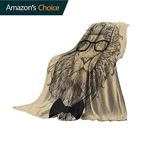 Indie Swaddle Blanket,Lion Character Portrait with Glasses and Bowtie Hipster Smart Cool Dandy for Bed & Couch Sofa Easy Care,50