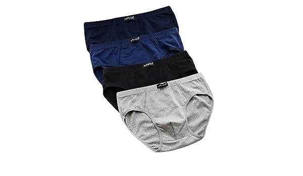 35f3227fc Qianbeili.vk Men s Underwear Elastic Breathable Cotton Sexy Loose Plus Size  Briefs 4Pack at Amazon Men s Clothing store