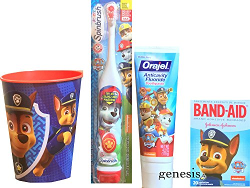 Paw Patrol Children's Oral Hygiene Care Set Powered Toothbrush & Fluoride Toothpaste, Band Aids & Mouth Rinse Cup (Chase) by Paw Patrol (Image #1)