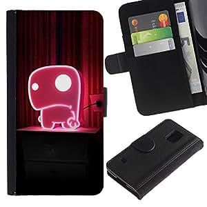 KingStore / Leather Etui en cuir / Samsung Galaxy S5 V SM-G900 / Rosa lindo