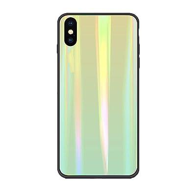 Alsoar Colorido Funda Compatible para Huawei Y6 Prime 2019/Y6 2019 Vidrio Templado 9H Aurora Gradient Marmol Cristal Anti-Rasguño Protectora Carcasa Bordes de Silicona TPU Bumper Caso (Verde amarillo): Electrónica