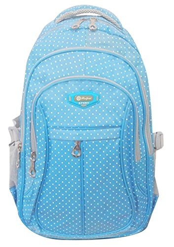 Girl Multipurpose Dot Primary Junior High University School Bag Bookbag Backpack (27 Liters, Blue)