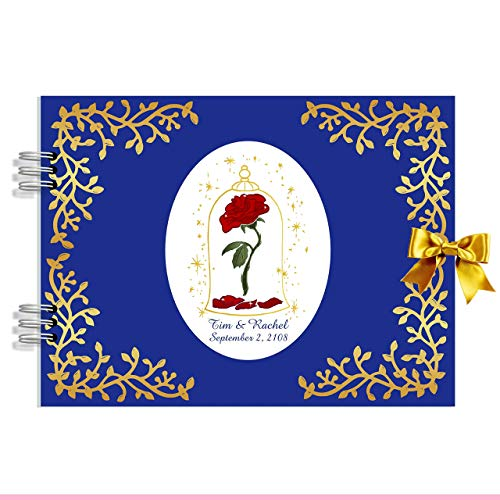 Guestbook Enchanted Rose with personalized names and date ()