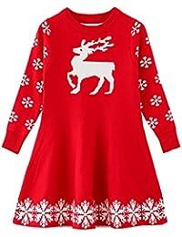 Little Girls Christmas Dress Reindeer Snowflake Xmas Gifts Winter Knit Sweater Dresses