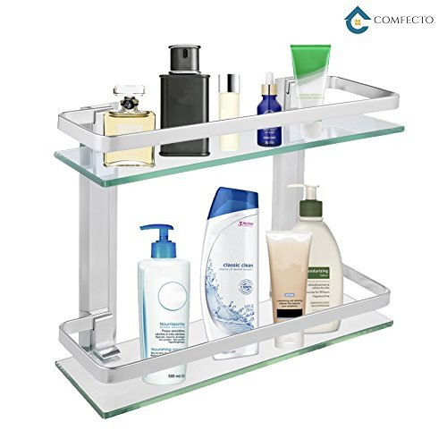 2-Tier Bathroom Glass Shelves, Wall Mounted Tempered Glass Shelf Organizer Storage Holder with 14 Inch Rectangular Glass (8mm Thick) and Aluminum Rail for Shower Lavatory, Hardware Included