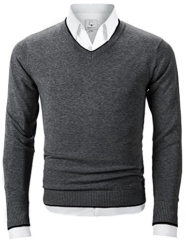 Men's V Neck Pullover Sweater Long Sleeve Cotton Casual Sweat Dress ,Dark Gray,Large (V-neck Men Sweaters Cardigans)