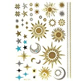 Allydrew Large Metallic Gold Silver and Black Body Art Temporary Tattoos, Sun, Moon, Stars