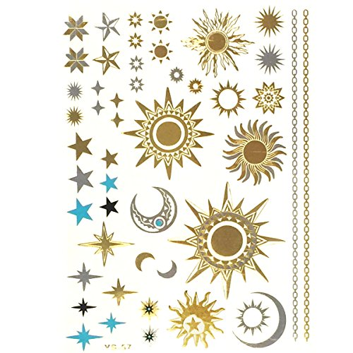 Moon Temporary Tattoo (Allydrew Large Metallic Gold Silver and Black Body Art Temporary Tattoos, Sun, Moon,)