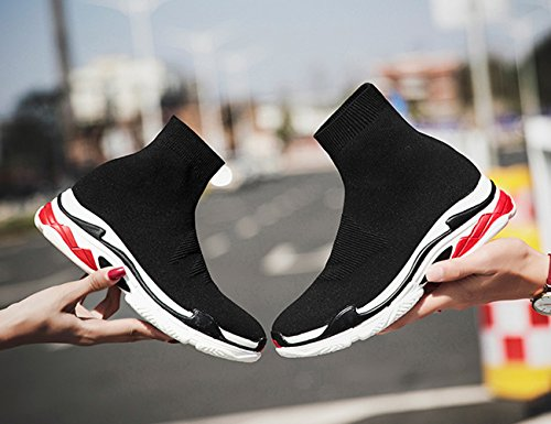 Da Scarpe Comfort Taglio Ginnastica In Con Rosso Paio Alto Maglia Passeggio Newcolor Unisex Sneakers Fannullone Nero Ewxp4Wvf5q