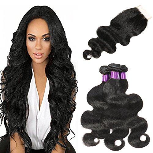 CUTE HAIR Brazilian Virgin Hair With Closure Body Wave Hair Weft with 1 Lace Closure Human Hair Weaves With Closure Virgin Hair Body Wave (20 20 20 with 18