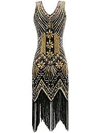 Women's 1920s V Neck Beaded Fringed Gatsby Theme Flapper...