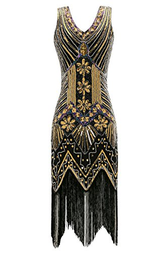 Metme Women's 1920s V Neck Beaded Fringed Gatsby Theme Flapper Dress for Prom Black ()