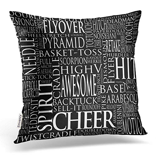 Accrocn Throw Pillow Covers Vintage Cute Cheerleading Word Cloud in Black White Pillowcases Polyester 18 x 18 Inch Cushion Decorative Pillowcase Square with Hidden Zipper Home Sofa