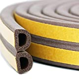 Bro Door Window Draught Excluder Strip Foam Seal Weather Stripping EPDM Tape Adhesive Rubber Soundproofing Weatherstrip, 9mm x 6mm x 3 Meters, 4 Seals Total 12M (D type, Brown)