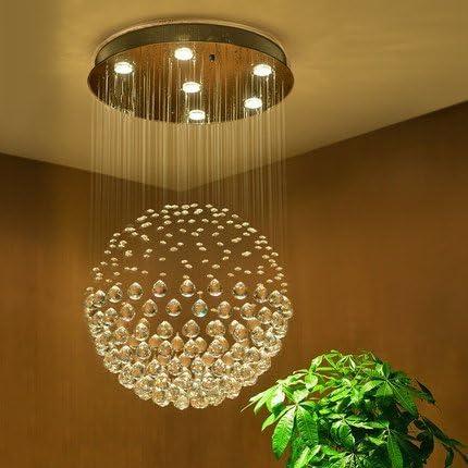 Saint Mossi Chandelier Modern K9 Crystal Raindrop Chandelier Lighting Flush mount LED Ceiling Light Fixture Pendant Lamp for Dining Room Bathroom Bedroom Livingroom 6 GU10 LED Bulbs Required H32 X D18