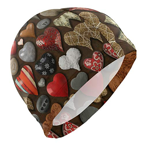 CHILL TEK Heart Shaped Things Made of Stone Metal and Wood Comfortable Swimming Hat Ear Protection One Size for Men Women