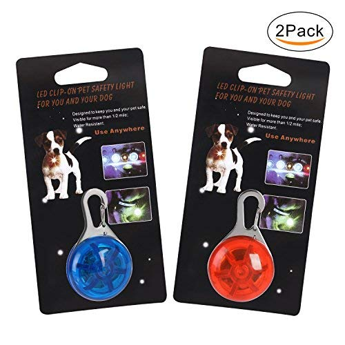 Pendant Lighting Outdoor Medium (WATTA Waterproof SpotLit Cat / dog Collar Light,LED Pet Safety Light Luminous Pendant for Outdoor Safety 2 Pcs red+blue)