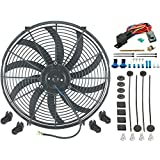 "American Volt 16"" Inch Electric Cooling Fan 12 Volt Push-in Radiator Fin Probe Thermostat Kit"
