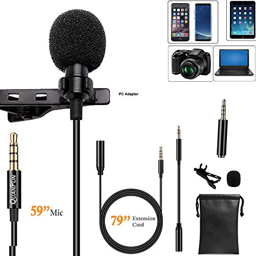 Professional Grade Lavalier Microphone Omnidirectional Lapel Mic Compatible iPhone Android Cell Phone PC Computer Camera, for Recording YouTube Interview Video (59