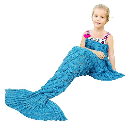 BATTOP Mermaid Tail Knitted Blanket for Kids- (Fish Scale Style-Child size, Cyan-Blue) (Fish For Kids)