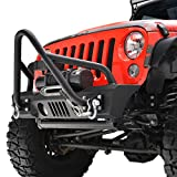 E-Autogrilles 07-17 Jeep Wrangler JK Stubby Front Bumper Stinger Grille Guard With OE Fog Lights Housing & D-ring Shackles (51-0374)
