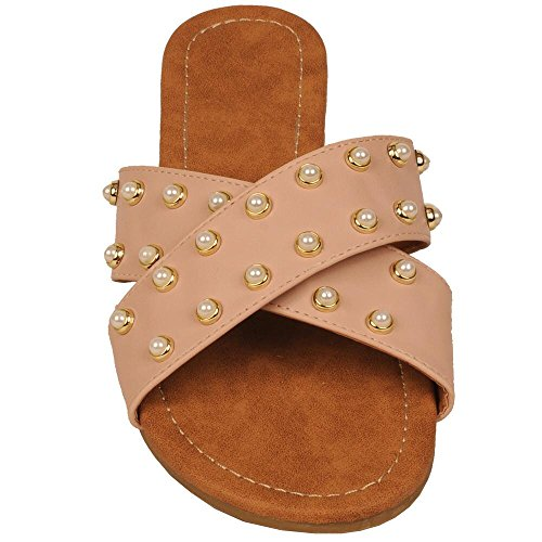 Wilsons Leather Womens Blush Fauxleather Slide Sandal W/Pearls 10 Blush - Wilson Leather Shoes