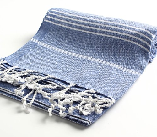 Cacala 100% Cotton Pestemal Turkish Bath Towel, 37 x 70, Grey Blue (Towels Monogrammed Beach Turkish)