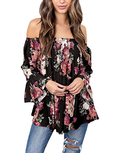 Womens Floral Off Shoulder Blouse Casual Shirt Bell Sleeves Cute Crop Top (Black, 2XL)