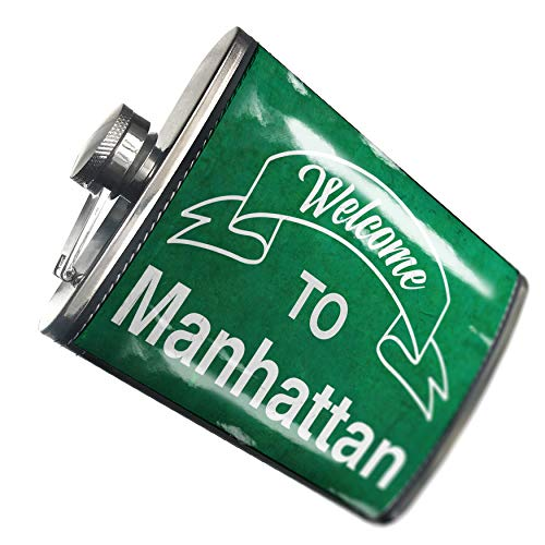 NEONBLOND Flask Green Sign Welcome To Manhattan Hip Flask PU Leather Stainless Steel Wrapped