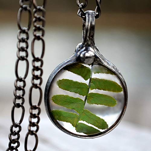 Real Fern Necklace, Handmade Jewelry, Real Fern Encased in Glass Pendant, Terrarium Jewelry (2714)