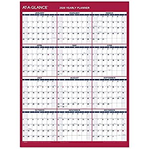 "AT-A-GLANCE 2020 Yearly Wall Calendar, 12"" x 15-11/16"", Medium, Erasable, Dry Erase, Vertical/Horizontal (PM330B28)"