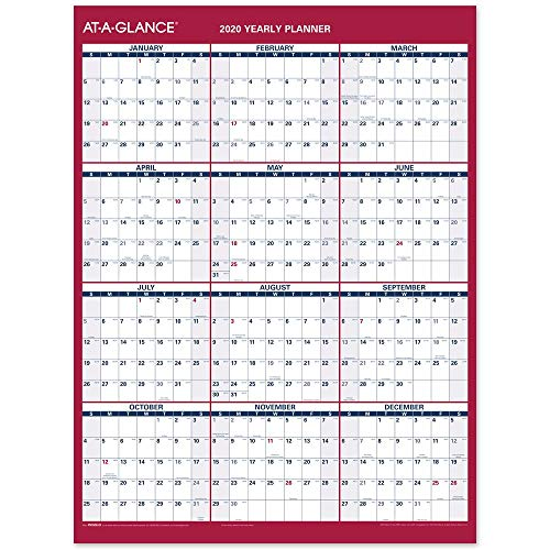 AT-A-GLANCE 2020 Yearly Wall Calendar, 12