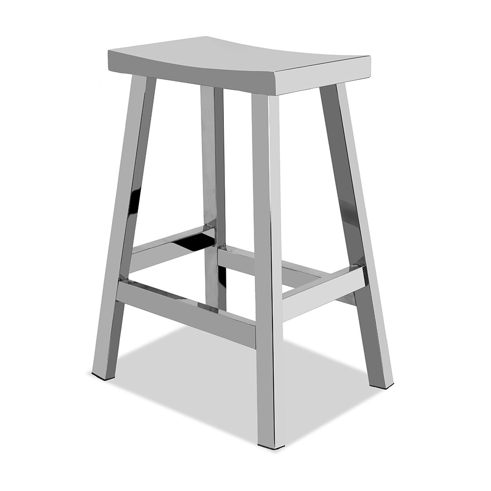 CHAIR DEPOTS Kupa Stainless Steel Saddle Seat Counter Stool, Hand Polished Finish