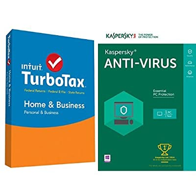 TurboTax Home & Business 2015 Federal + State Taxes + Fed Efile Tax Preparation Software - PC/Mac Disc with Kaspersky Anti-Virus 2016   1 PC   1 Year   Download
