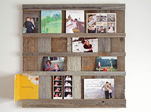 - ABW Decor Reclaimed Barn Wood Picture Collage Display Board, AllBarnwood Farmhouse Wall Hanging 4x6 Photo Holder. Greeting, Christmas, Holiday, Postcard, Wedding Announcement, Mothers Day Gift.