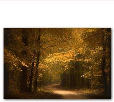YaShengZhuangShi Cartel Lienzo Pintura Moderna nórdica Paisaje Impresiones otoño Amarillo árboles Caballo Pared Cuadros para Sala Cuadros decoración del hogar 40x60 cm sin Marco