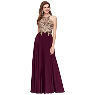 698f3584704 David s Bridal Metallic Corded Lace and Chiffon A-Line Prom Dress Style  1183DX at Amazon Women s Clothing store