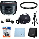 Canon EF 50mm f/1.2 L USM Lens for Canon Digital SLR Cameras w/ 72mm Multicoated UV Protective Filter, Deluxe Bag, Lens Cap Keeper, Microfiber Cleaning Cloth, Memory Card Wallet, USB 2.0 Card Reader, Professional Tripod