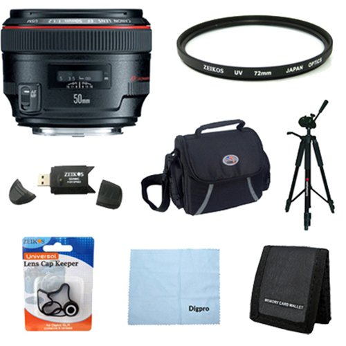 Canon EF 50mm f/1.2 L USM Lens for Canon Digital SLR Cameras w/ 72mm Multicoated UV Protective Filter, Deluxe Bag, Lens Cap Keeper, Microfiber Cleaning Cloth, Memory Card Wallet, USB 2.0 Card Reader, Professional Tripod by Canon
