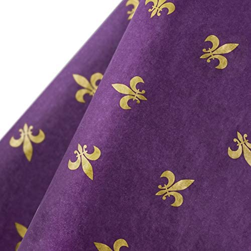 WRAPAHOLIC Wrappping Paper - 25 Sheets Gold Fleur De Lis Design Tissue Paper Bulk for Mardi Gras Party Decorations, DIY Crafts - 19.7x27.5 inch