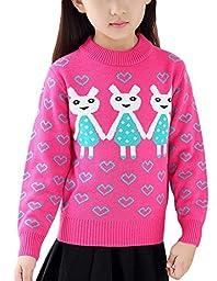 MFrannie Girl Cartoon Rabbit Bright Vigorous Heart Elastic Sweater Rose Red 7-8T